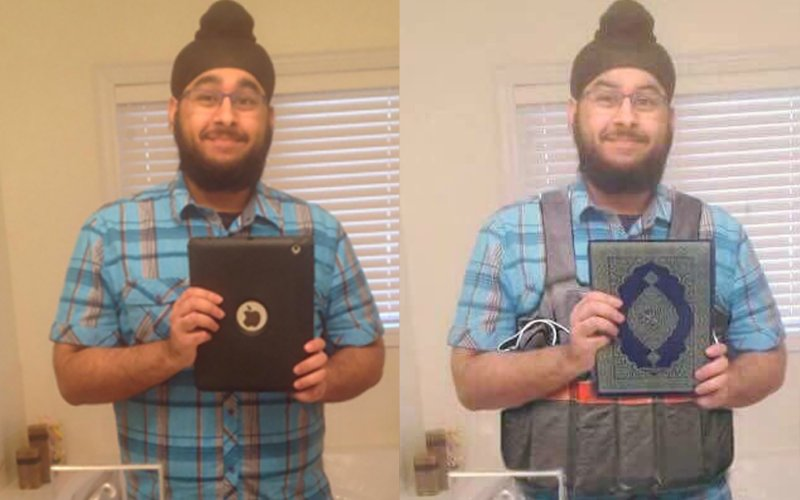Original selfie on left, Photoshopped garbage on right.