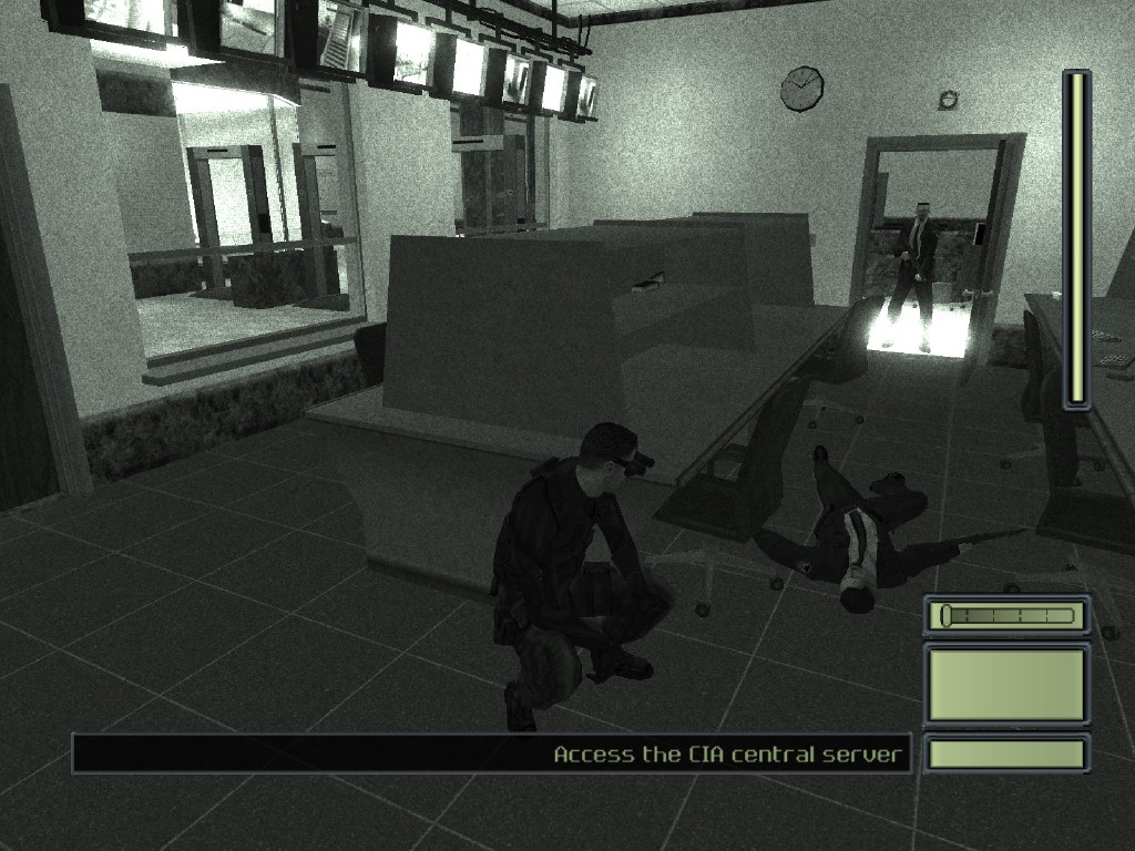 Guards can react to bodies in this game, but this guard is much more concerned with the problematic nature of this room's lights.
